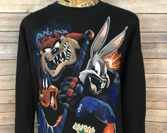 Vintage 90s Dallas Stars Looney Tunes Hockey Crewneck Sweatshirt (XL)