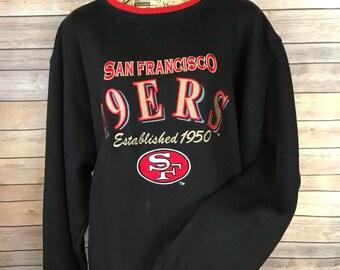 Vintage San Francisco 49ers Embroidered Ringer LogoAthletic Sweatshirt (XL)