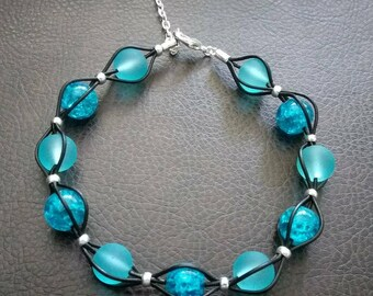Handmade leather bracelet with ocean blue beads