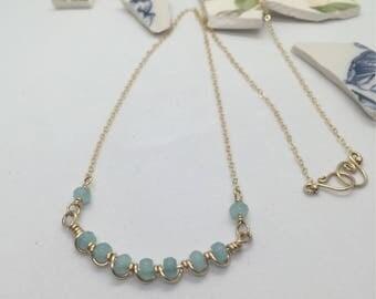 Aqua Chalcedony Wire Wrapped Single Scallop Necklace 12 Karat Gold