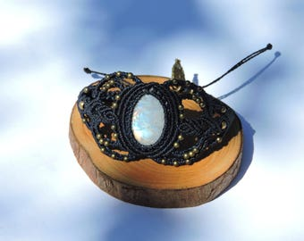 Moonstone and macrame bracelet