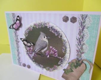 Card 3D (relief) Bird on a branch