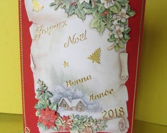 Card 3D (relief) Poinsettias, Holly and stickers gold Merry Christmas & happy new year