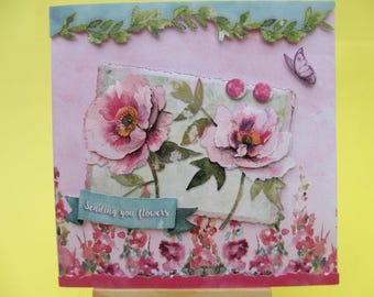 Card 3D (raised) flowers and Butterfly