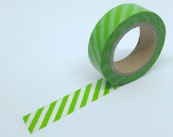 Washi Tape stripes 10Mx15mm dark green and white diagonal stripes