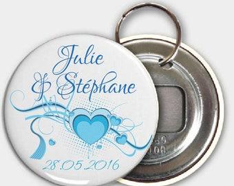 Keychain bottle opener, wedding blue heart