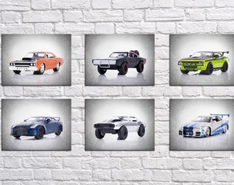 Discount Set of 6 Fast and Furious Cars wall prints, boys room decor, kids room decor, boys wall decor, fast and furious, Dom's car, cars