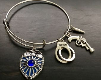 Police or Fire Fighter Charm Stainless Steel Bangle