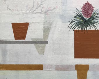 Futuristic White Interior - Original Abstract Art Painting