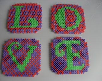 Handmade Hama Bead Love Coasters