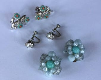 Sweet Vintage Clip On / Screw On Earrings Set of 3 Pairs 1950s