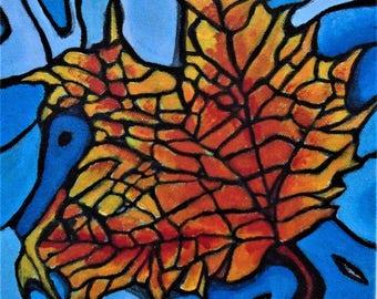 Maple Leaf Painting, Mosaic style painting, Acrylic, Blue and orange, Abstract art, Original art, madislandartist, Diane Marie,Free shipping