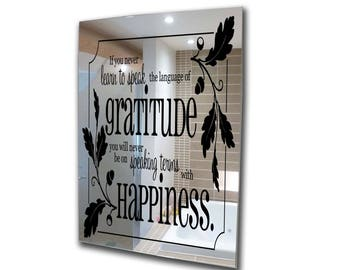 Decorative mirror-gratitude and happiness-acrylic mirror-stencil mirror-3mm framed acrylic mirror-wall art A2 A3 A4 A5 custom mirror