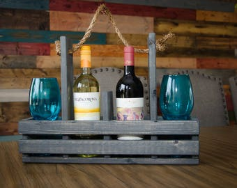 Wood Wine Caddy, Wine Carrier, Wine Tote, Rusic, Wedding Gift, House Warming - Pick your color