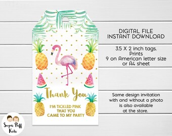 Flamingo And Fruit  Birthday Party Favor Tags, Instant Download Flamingo tags, Flamingo Thank You Favor Tags, Birthday Favor Tags Flamingo