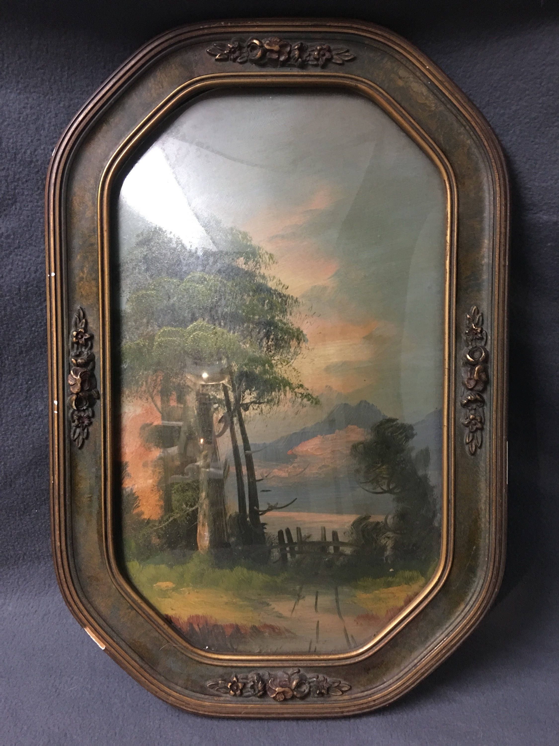 Large antique victorian convex glass wood picture frame details beautiful victorian wood convex glass picture frame jeuxipadfo Image collections