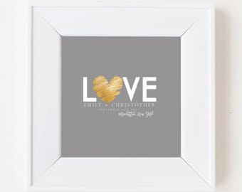 Wedding Guestbook Alternative- Have your guests sign this personalized print- Signature Board- Custom Wedding Art- Modern Grey Gold Heart