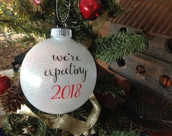 We're Expecting 2018 Couples Christmas Ornament Shower Gift