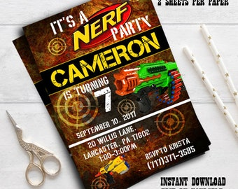 Instant download-Dart Invitation, laser tag, nerfinvitation, nerfinvite, nerfinvitations, nerfbirtdayparty