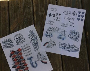 Harley Quinn Suicide Squad Tattoo Set