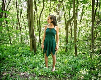 FOREST FAIRY ~ Cut-Out Dress, Short Dress, Mini Dress ~ with Cuts, Brass Beads and Rivets ~ Cotton ~ Forest, Fairy, Elf ~ green S,L