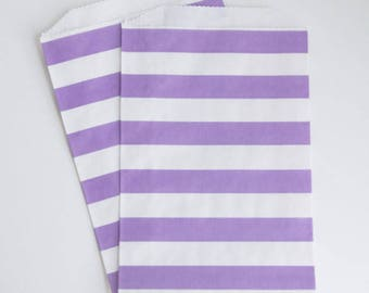 Striped Party Treat Bags - Purple