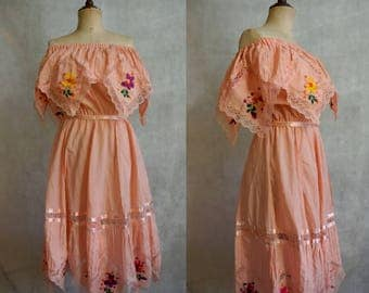 1970s Pink Floral Embroidered Dress / Vintage Bohemian Prarie Dress