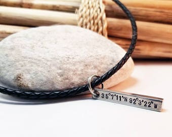 Men's Necklace, Gift for Husband, 6th Anniversary,  Iron Anniversary, Leather Necklace, Men's Jewelry, GPS Coordinates, Silver Bar Necklace