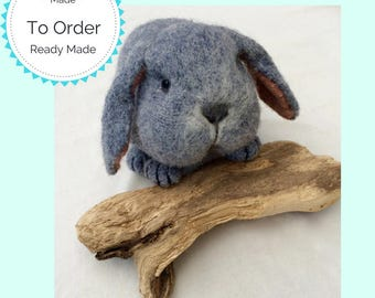 Lifelike Knitted and felted Lop Eared Rabbit