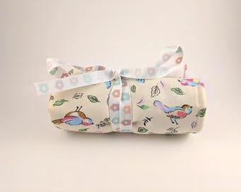 Bird/Floral/Bird House, Crayon Roll Bag, Organiser, Holder, Kids, Gifts, Travel