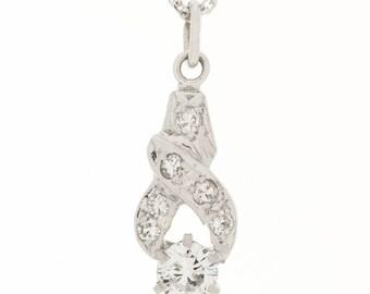 14K Retro 1930's Diamond Pendant
