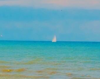 Digital Art, Landscape Art, Water, Sailboat, Photography, Digital Photography