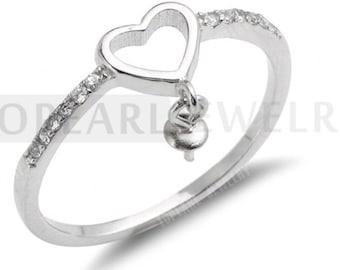 Heart Sterling 925 Silver Ring Base for DIY Making CD9RM115