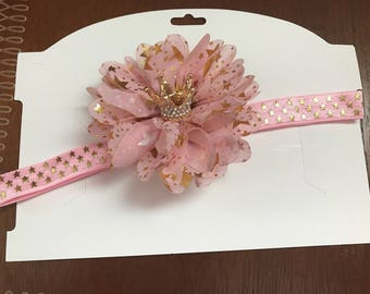 Pink and Gold Star Crown Hair Band or Clip