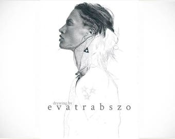 Limited A4 print of my pencil drawing 'Crista', originally signed, limited