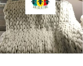 Custom Order 100% Australian Merino Wool Chunky Knit Wool Blankets. (Info Only Listing) See item details below. 21.5 Micron Merino Wool