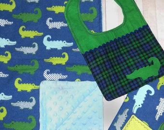 Baby boy minky blanket- Baby Shower Gift Boy Alligator - Baby blanket, bib, and burp cloth