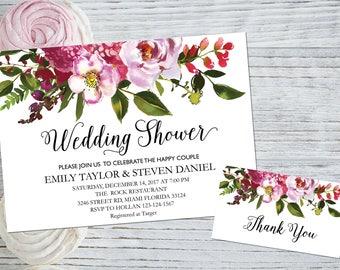 Wedding shower invitation, Printable Wedding Shower Invitation, Couples Shower Invite, flower wedding shower invitation instant download, B4