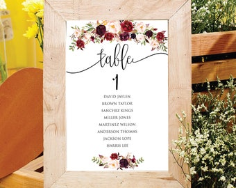 Printable Wedding Table Numbers 1 - 20 | Wedding Table Number|  Instant Download | Printable Table Numbers | Events | Banquet | PDF Download