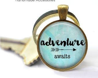ADVENTURE AWAITS Key Ring • Adventure • New Start Quote • New Beginnings • New Life • Start Again • Gift Under 20 • Made in Australia (K518)