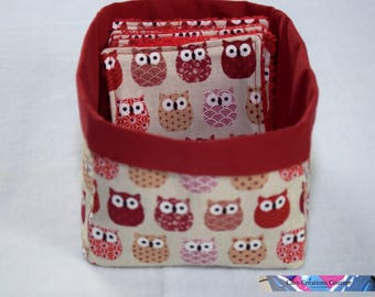 Basket alone or with 6/12 or 24 Eco wipes cotton Terry red owls