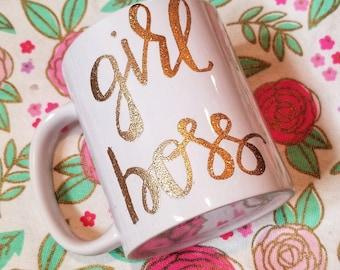 Glitter embossed Girl Boss mug