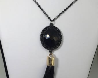 "Black Stone Filigree Pendant Necklace with Silver Capped Black Tassel, Gunmetal 24"" Chain"