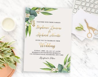 Wedding Invitation Printable Floral Greenery Eucalyptus Digital Wedding Watercolor Invitation Bohemian Wedding Invite WS-020
