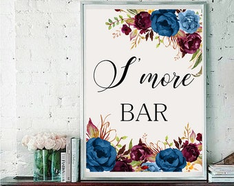S more bar Wedding Sign Digital Floral Blue Burgundy Peonies Wedding Boho Printable Bridal Decor Gifts Poster Sign 5x7 and 8x10 - WS-024