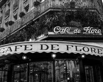 paris wall art / black and white photography / art prints / wall art prints / cafe de flore / paris / paris prints / home decor