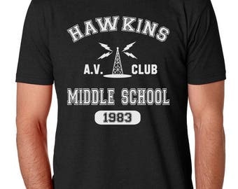 Hawkins Middle School AV Club Stranger Things Mens Shirt by Brain Juice Tees