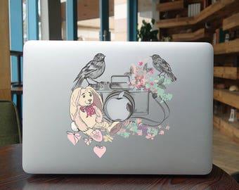Macbook Decals Macbook Stickers Macbook Skins Macbook Cover Vinyl Decal for Apple Laptop Macbook Pro Macbook Air Flowers in the camera