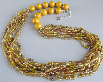 Yellow beaded necklace, Seed beads jewelry, Yellow necklace, Multistrand necklace, Handmade ntcklace