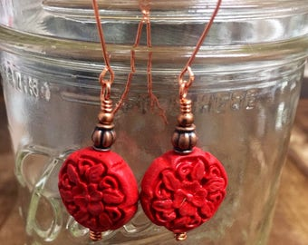 """Carved Cinnabar Coin Bead Dangle Earrings on Solid Copper Handmade Ear Wires  2 1/4"""" Long"""